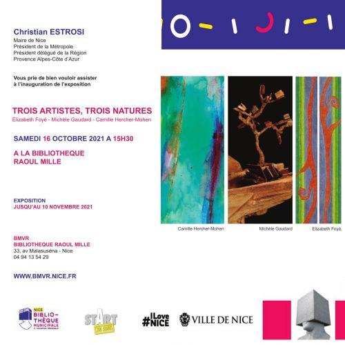 Invitation exposition 3 Artistes | 3 Natures - BMVR 2021